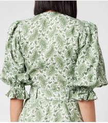faithful the brand women's jacinta top - sable paisley print/green - l
