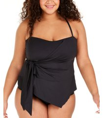 becca etc plus size solid color code asymmetrical tankini top women's swimsuit