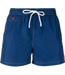 kiton logo-plaque stitched swim shorts - blue