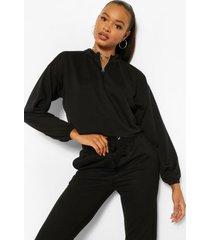 elastische korte trui met halve rits, zwart