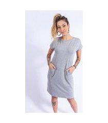 vestido camisetão bolso up side wear cinza