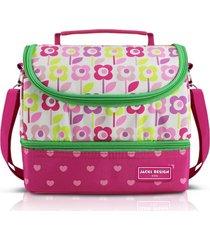 lancheira térmica com 2 compartimentos infantil flor jacki design sapeka pink