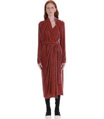rick owens wrap ls dress dress in rose-pink velvet
