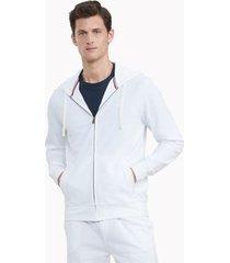 tommy hilfiger men's essential stretch pique cotton hoodie bright white - xxxl