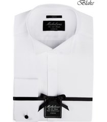 michelsons of london men's classic/regular fit stretch solid french cuff tuxedo shirt
