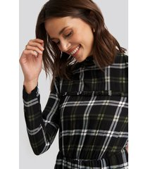 trendyol plaid sheer neck dress - black