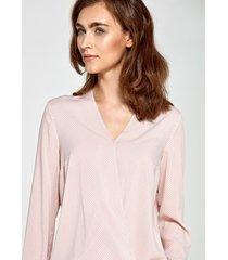 bluzka z kopertowym dekoltem różowa w kropki