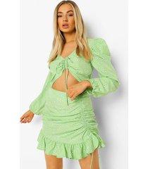 geplooide bloemenpatroon top en rok, green