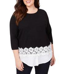 plus size women's foxcroft zadie layered look sweater, size 2x - black