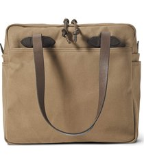 filson rugged twill tote bag with zipper - sepia 20112028