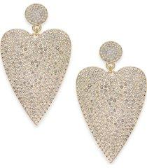 thalia sodi gold-tone pave heart drop earrings, created for macy's