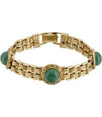 2028 gold-tone round semi precious aventurine link bracelet