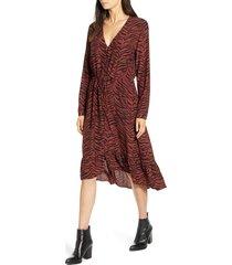 women's rails jade high/low ruffle hem dress, size small - red