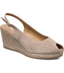 woms open toe sandalette med klack espadrilles beige tamaris