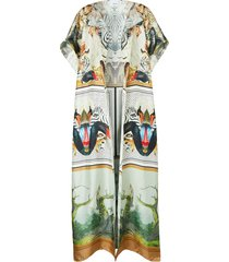 burberry montage-print long cape - white