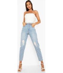 mom jeans met hoge taille en gescheurde knieën, light blue