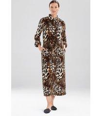 natori plush leopard zip lounger sleep/lounge/bath wrap/robe, women's, chestnut, size m natori