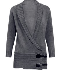 chic long sleeve shawl collar button design women's sweater