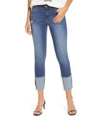 women's 1822 denim cuffed crop skinny jeans, size 25 - blue