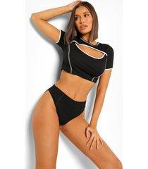geribbelde onderbroek met hoge taille en contrasterende stiksels, black