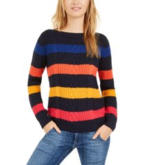tommy hilfiger striped cable knit sweater, created for macy's