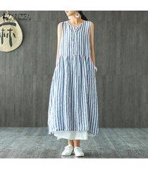 zanzea verano de las mujeres sin mangas de la raya del partido vestido de tirantes de playa más el tamaño maxi del vestido (no incluye el blanco interno) -azul