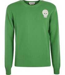 alexander mcqueen skull embroidered knit sweater