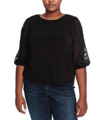 cece plus size sheer-sleeve top