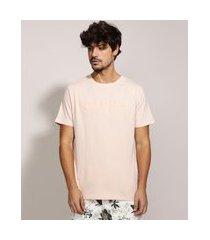 "camiseta masculina pause"" com relevo manga curta gola careca rosa claro"""