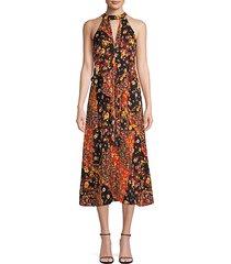 floral ruffle halter dress