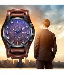 reloj de pulsera de cuero moda hombre curren analogo