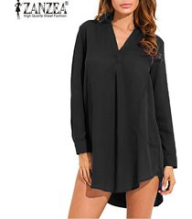 zanzea mujeres de la manera vestido camisa floja ocasional de opacidad largo de la gasa de la manga de la solapa del tamaño extra grande (negro) -negro