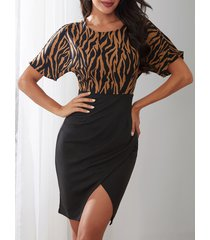 yoins café zebra estampado redondo cuello mini dobladillo con abertura vestido