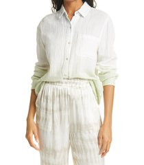 rails ellis long sleeve cotton blouse, size x-small in mint dip dye at nordstrom