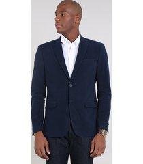 blazer masculino canelado com bolsos azul marinho