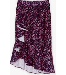 womens abstract spot ruffle midi skirt - pink
