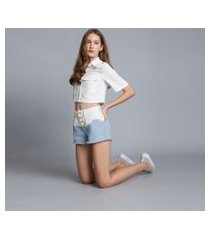 lez a lez - shorts jeans miami tingimento azul momento