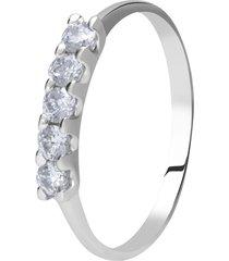anello in oro bianco con cinque zirconi per donna