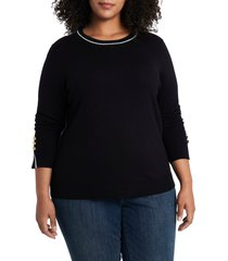 plus size women's court & rowe contrast tipped crewneck pullover, size 2x - black