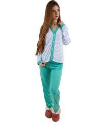 pijama linha noite longo verde piscina com estrela