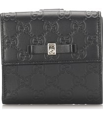 gucci ssima bow signature wallet black sz: