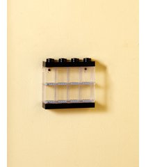 kid's black lego minifigure storage display case holds 8 minifigures stackable