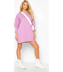 extreme puff sleeve 3/4 sleeve sweatshirt dress, lilac