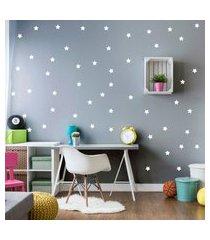 adesivo de parede estrelas brancas 54un cobre 4m²