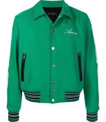 amiri bone print varsity jacket - green