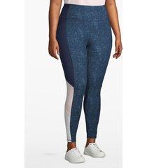 lane bryant women's active 7/8 legging - colorblock side stripe 14/16 blue texture