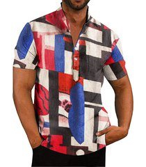 camisa de playa de hawaii con estampado geométrico multicolor de bloque de color informal de verano para hombre