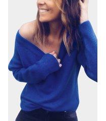suéter casual con cuello en v manga larga dobladillo ajustado azul