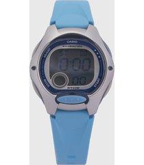 reloj azul turquesa-plateado casio