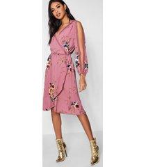 boutique bloemenprint wikkel jurk met mouwsplit, roze